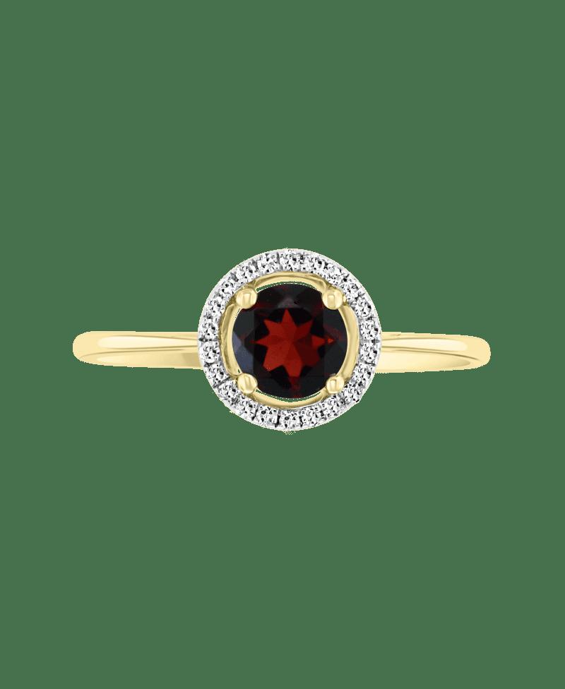 Garnet & Diamond Halo Ring in 14k Yellow Gold