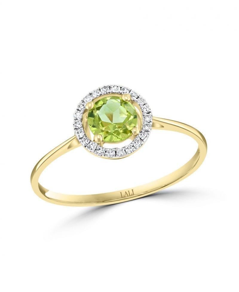 Peridot & Diamond Halo Ring in 14k Yellow Gold