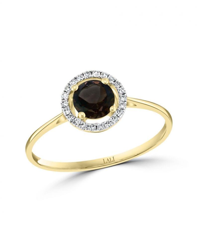 Smoky Quartz & Diamond Halo Ring in 14k Yellow Gold