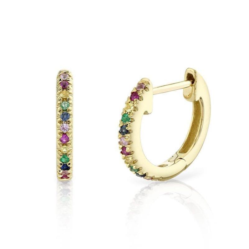 Rainbow Huggie Hoop Earrings in 14k Yellow Gold