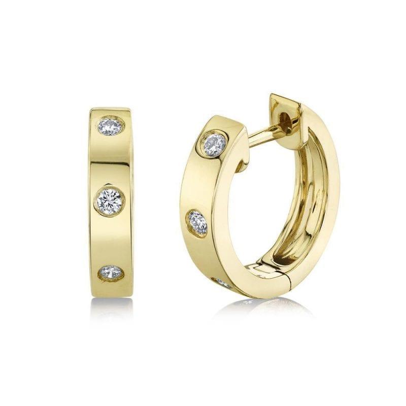 Three Stone Diamond Huggie Hoop Earrings in 14k Yellow Gold