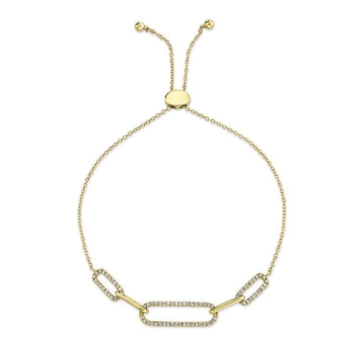 Triple Diamond Link Bracelet in 14k Yellow Gold