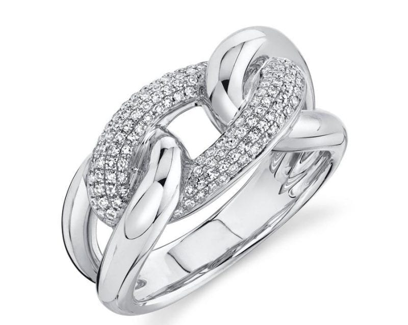 Pave Diamond Link Ring in 14k White Gold