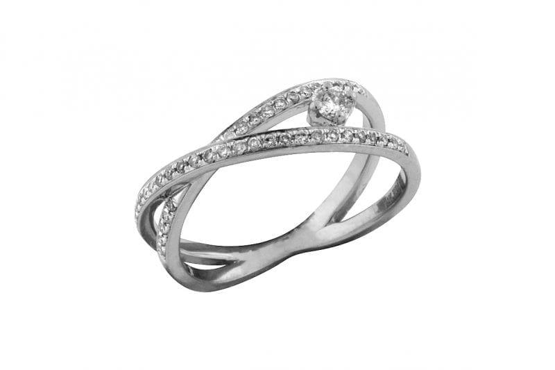 Diamond Crossover Ring in 14k White Gold