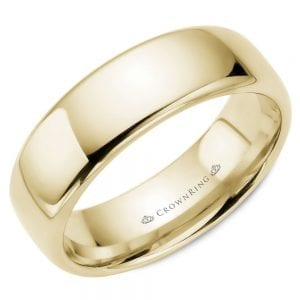 yellow gold 7mm wedding band ring