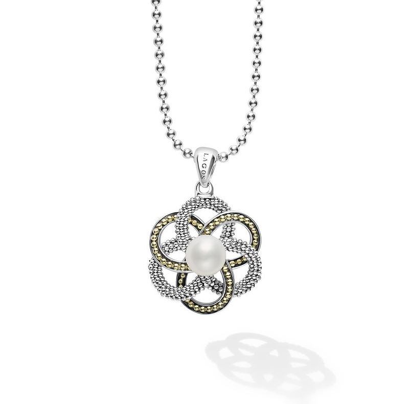 Lagos Love Knot Pearl Pendant Necklace