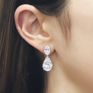 Oval & Pear Diamond Drop Earrings