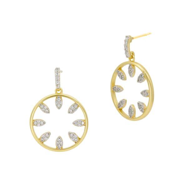Freida Rothman Petals in Bloom Open Hoop Earrings