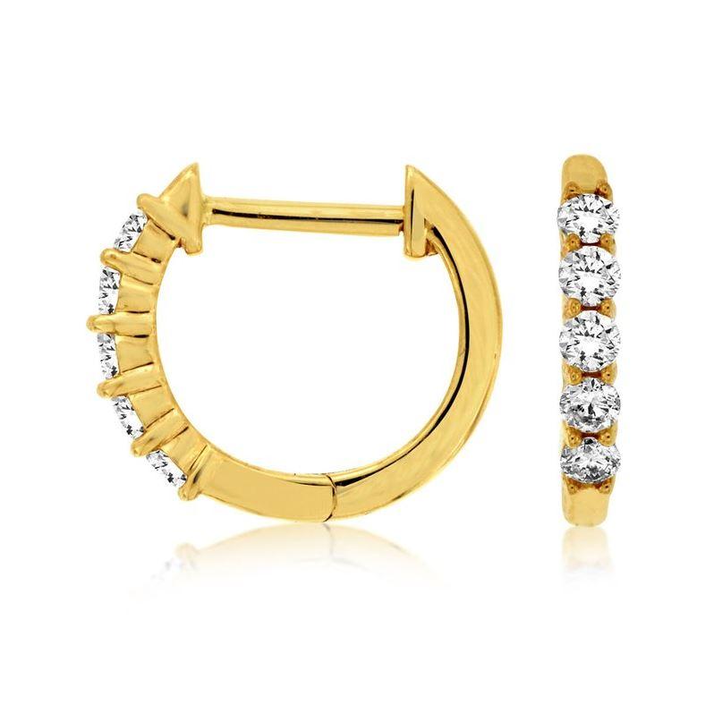 Huggie Hoop Diamond Earrings in 14k Yellow Gold