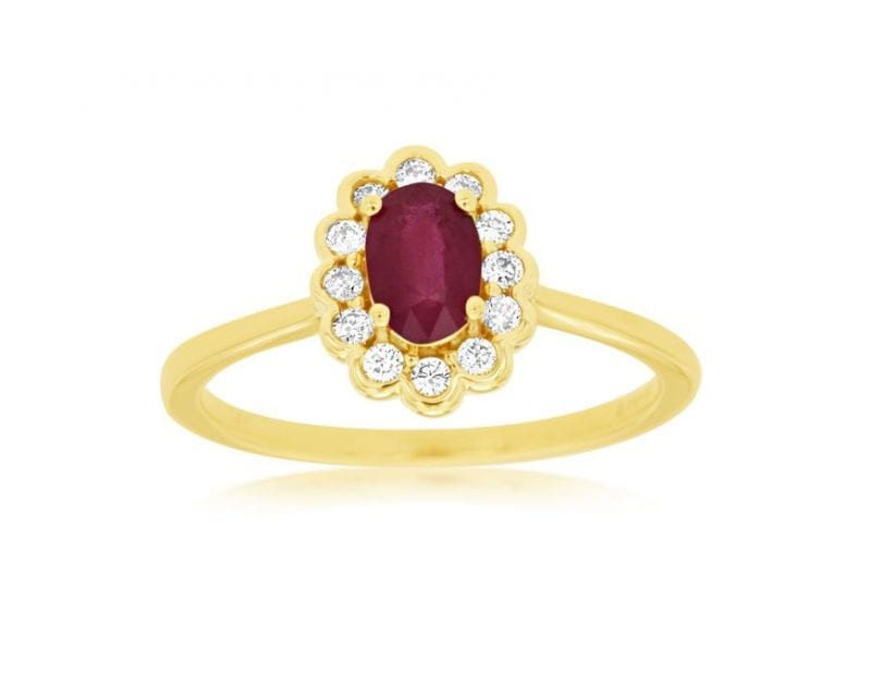 Ruby & Diamond Floral Halo Ring in 14k Yellow Gold