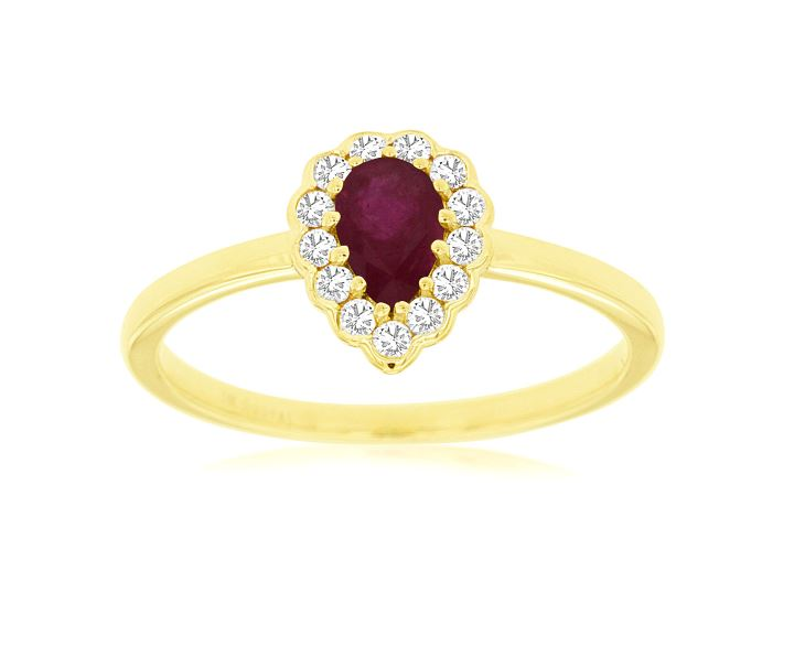 Pear Shaped Ruby & Diamond Halo Ring in 14k Yellow Gold