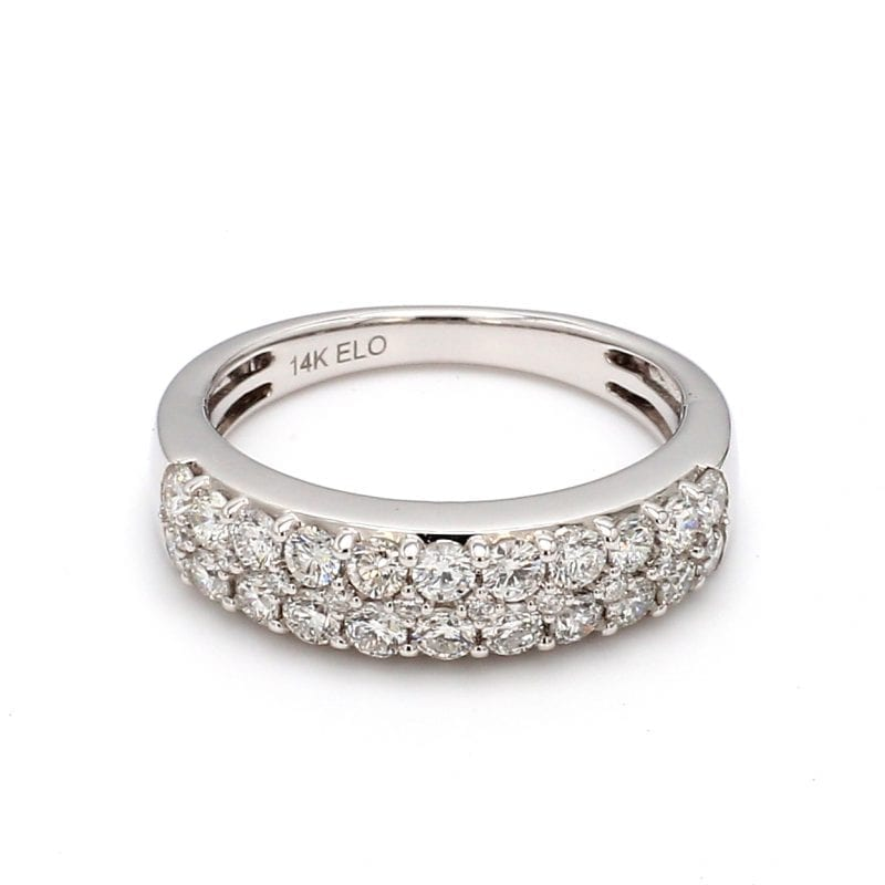 Two Row Pave Diamond Ring in 14k White Gold