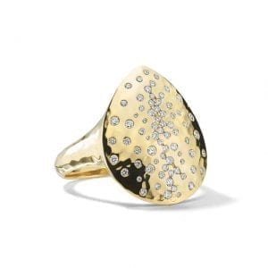 Ippolita Crinkle Teardrop Ring in 18k Gold with Diamonds
