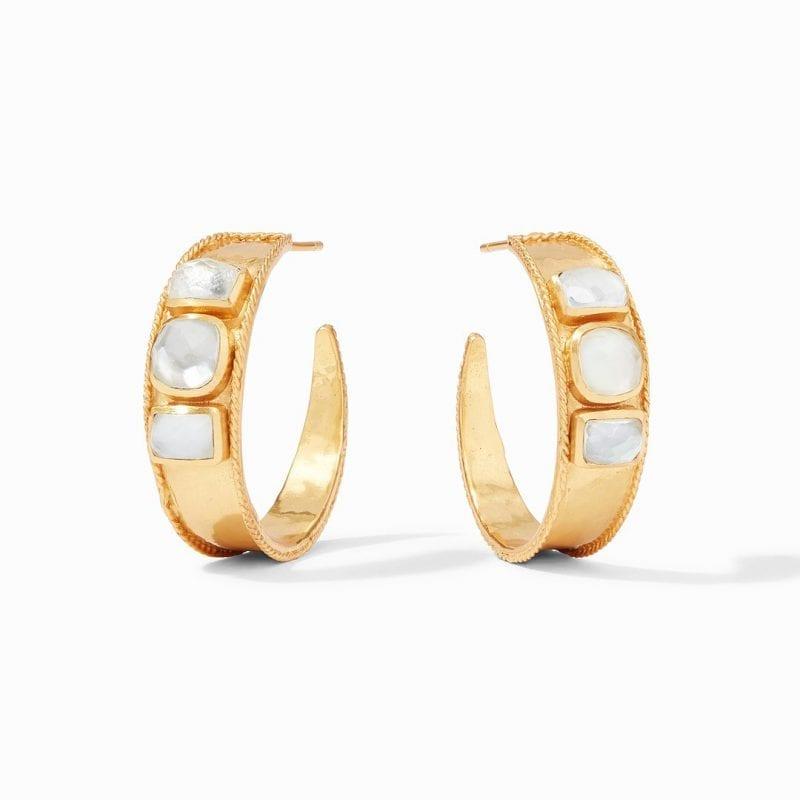 Julie Vos Savoy Statement Hoop Earrings in Iridescent Clear Crystal