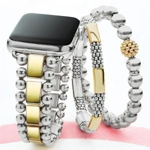 Lagos Smart Caviar Stainless Steel 18k Gold Watch Bracelet, 42-44mm
