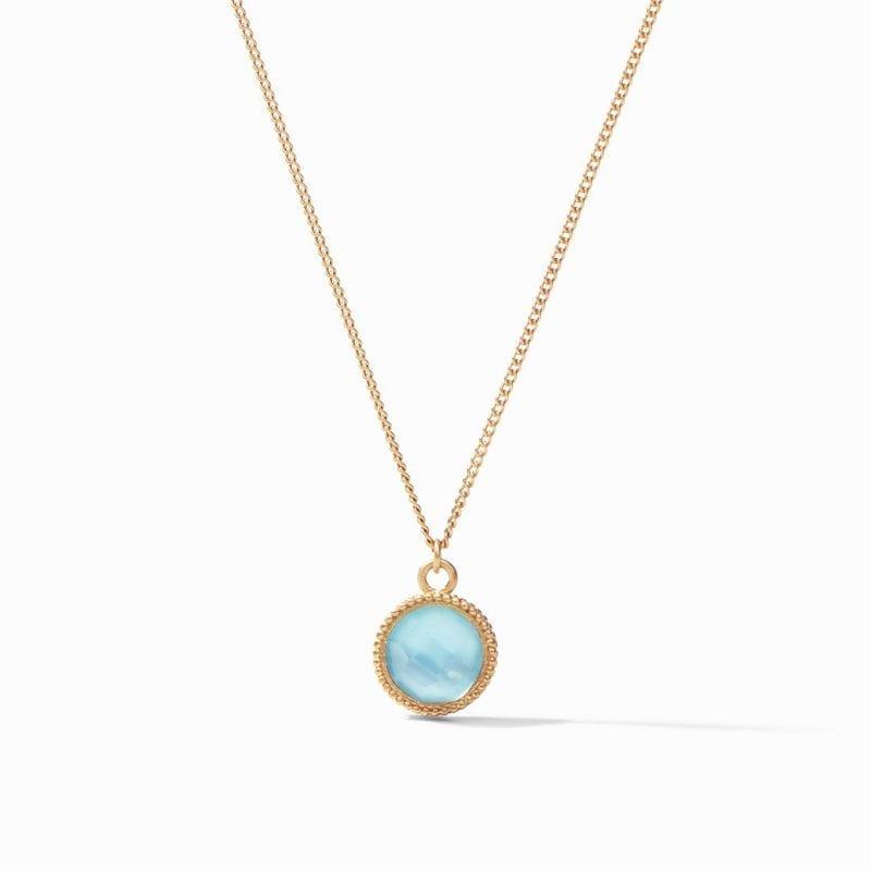 Julie Vos Fleur-de-Lis Solitaire Necklace in Bahamian Blue