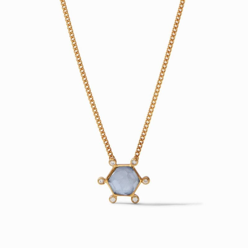 Julie Vos Cosmo Solitaire Necklace in Iridescent Chalcedony Blue