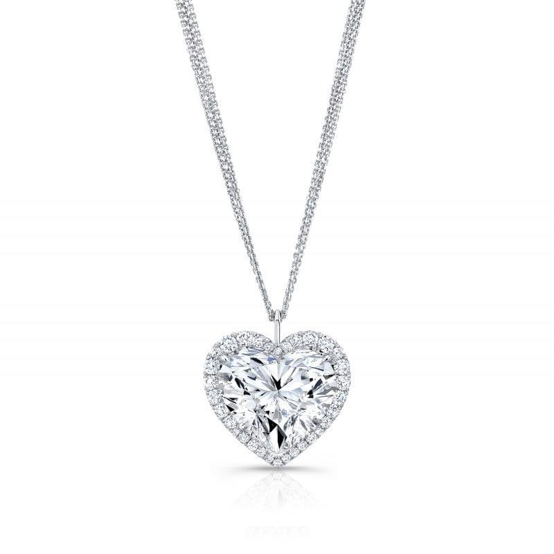Heart-Shaped Diamond Pendant Necklace