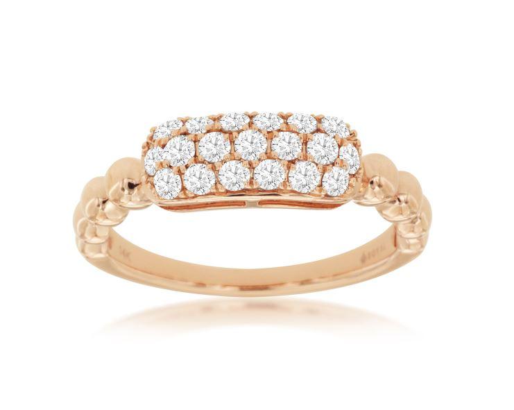 Pave Diamond Beaded Ring in 14k Rose Gold