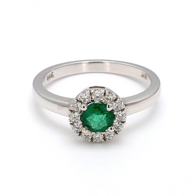 Round Emerald & Diamond Halo Ring in 14k White Gold