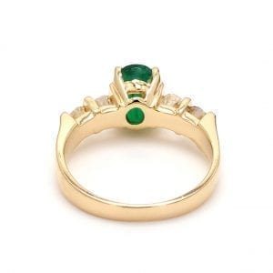 Oval Emerald Ring with Diamond Accents in 14k Yellow Gold