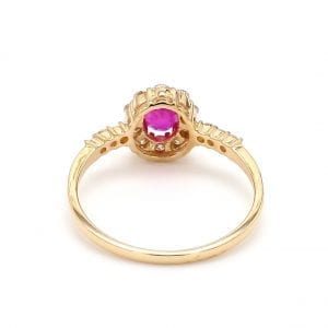 Oval Ruby & Diamond Halo Ring in 14k Yellow Gold