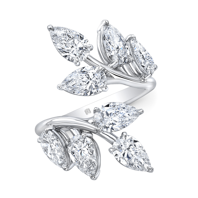Diamond Leaf Bypass Ring