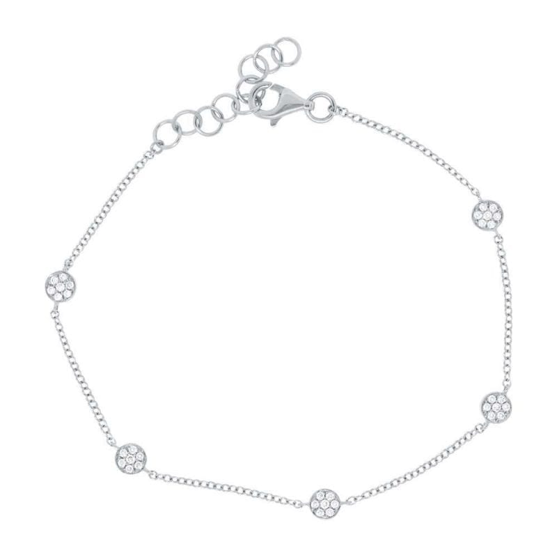 Pave Diamond Station Bracelet in 14k White Gold