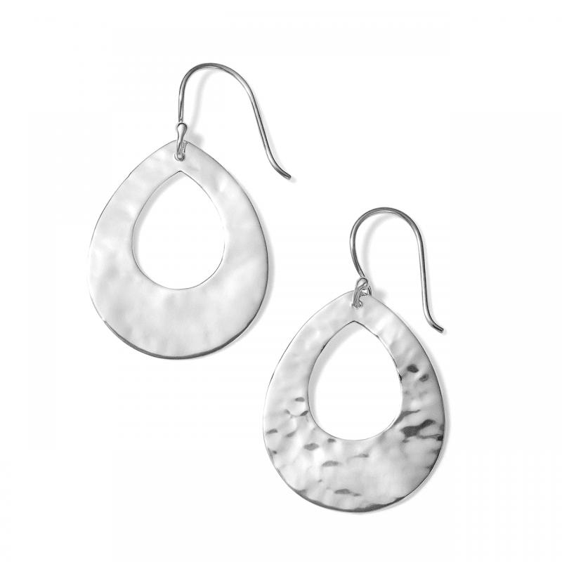 Ippolita Crinkle Small Open Teardrop Earrings in Sterling Silver
