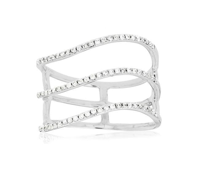 Wave Three Row Diamond Ring in 14k White Gold