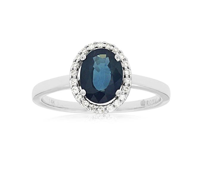 Oval Sapphire & Diamond Halo Ring in 14k White Gold