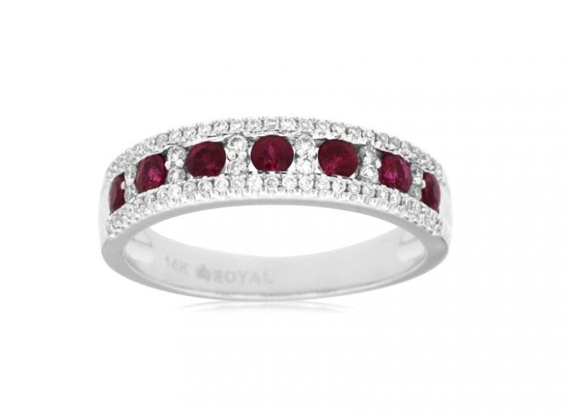 Red Ruby & Diamond Halo Ring in 14k White Gold