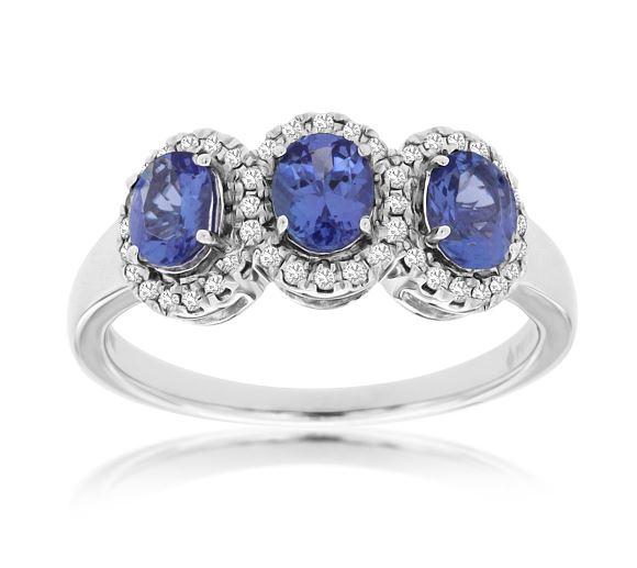 Diamond Halo & Tanzanite Three Stone Ring in 14k White Gold