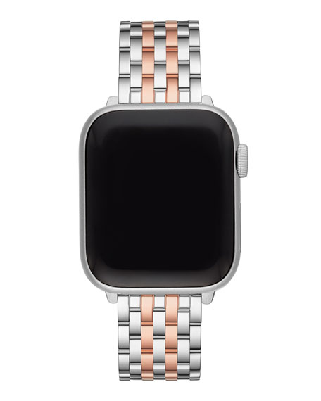 Michele Stainless Steel & Rose Gold Plated Apple Watch Strap