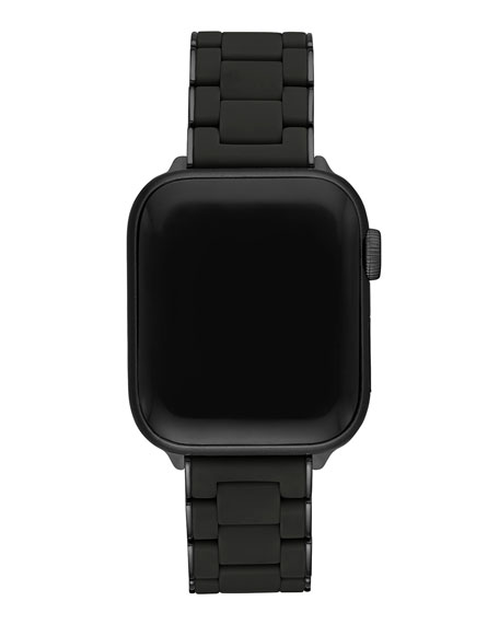 Michele Stainless Steel & Black Silicone Apple Watch Strap