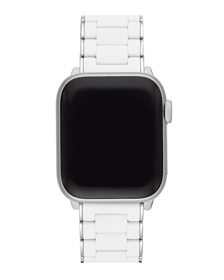michele white apple watch strap in silicone