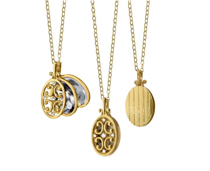 Monica Rich Kosann Oval Gate Locket Necklace with Diamonds