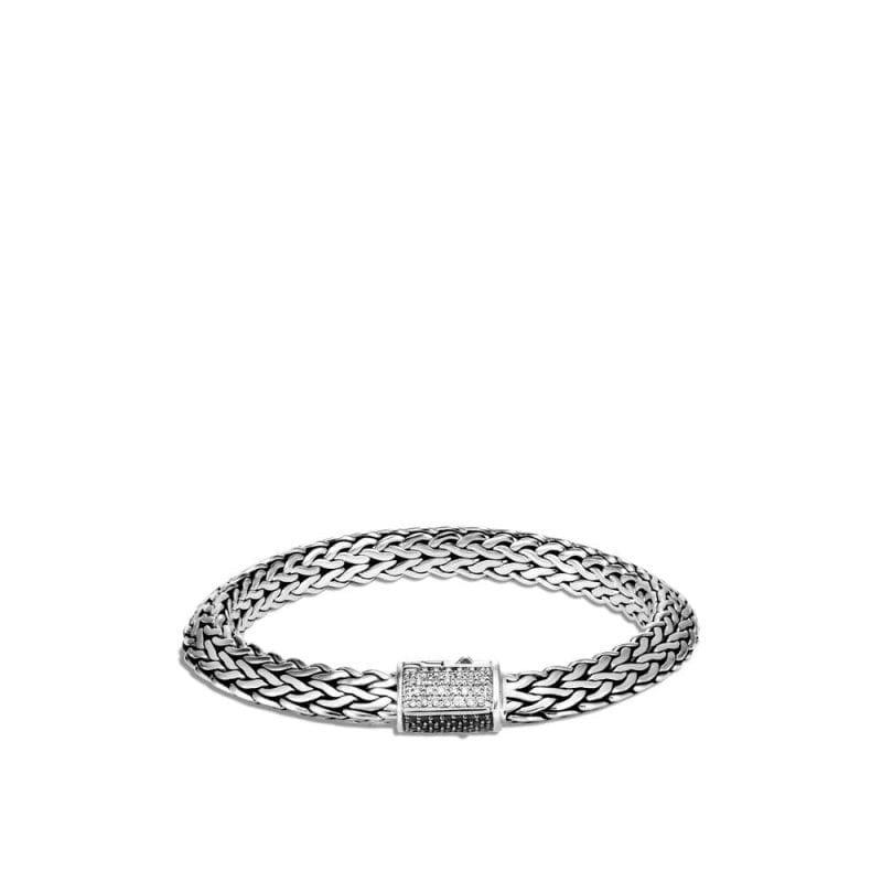 John Hardy 8mm Tiga Chain Bracelet with Diamonds and Black Sapphires, Size Medium