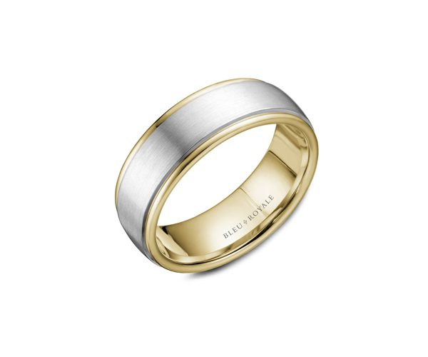 Contemporary style two-toned gold and silver men's wedding ring .