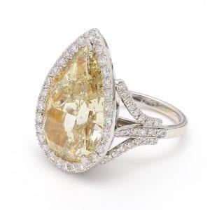 Fancy Yellow Pear Cut Diamond Engagement Ring