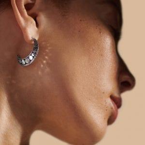 John Hardy Dot Hammered Hoop Earrings