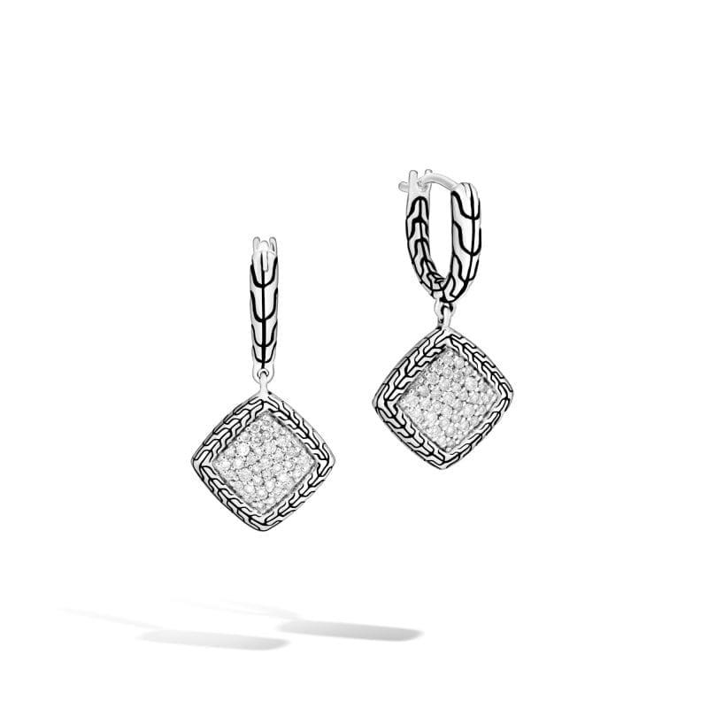John Hardy Classic Chain Drop Earrings with Diamonds