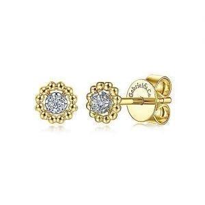 Beaded Halo Diamond Stud Earrings in 14k Yellow Gold