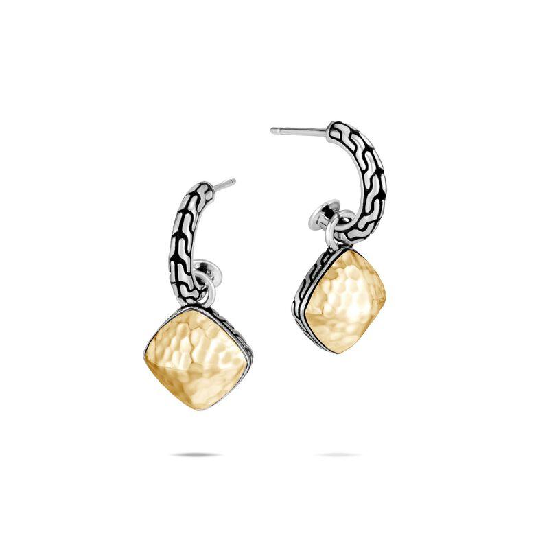 John Hardy Classic Chain Hammered Sugarloaf Drop Earrings