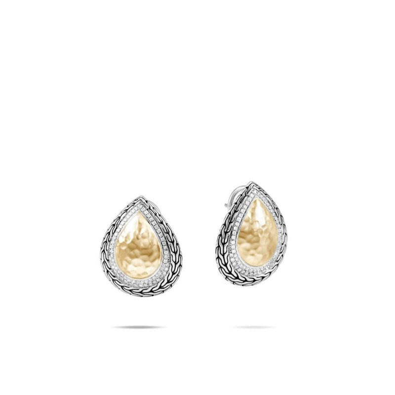 John Hardy Classic Chain Hammered Earring with Diamonds