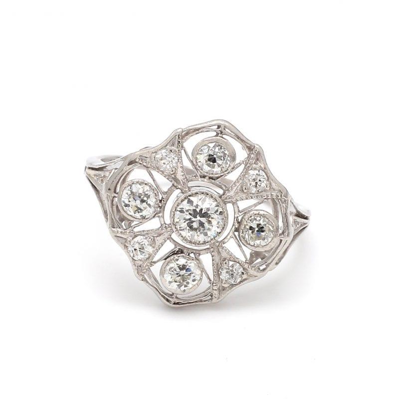 Bailey's Estate Platinum Art Deco Diamond Ring