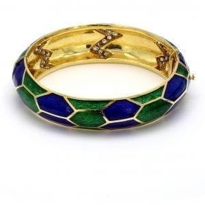 Bailey's Estate Enamel Hinge Bracelet with Diamonds
