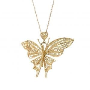Bailey's Estate Filigree Butterfly Pendant Necklace