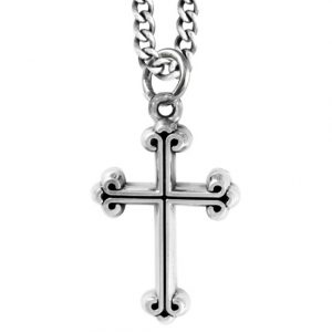 silver cross pendant with curled ends