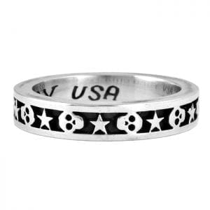 skull and star silver band ring